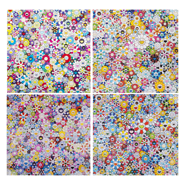 Takashi Murakami, 'Shangri-La (4): Flowers with Smiley Faces; When I close My Eyes, I See Shangri-La; Shangri-La Shangri-La Shangri-la; Bouquet of Love', 2013; 2012; 2016; 2012, Julien's Auctions