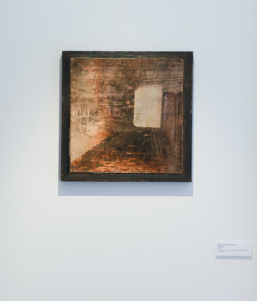 """Dorothy Simpson Krause, """"Passage,"""" 2010, emulsion transfer to copper with encaustic, 14 x 14 in.  Installation view at 571 Projects, Stowe, VT"""