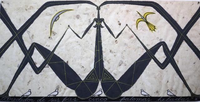 José Bedia, 'Alrededor De Sus Pies Cinco Palomas heladas', 2014, MLA Gallery