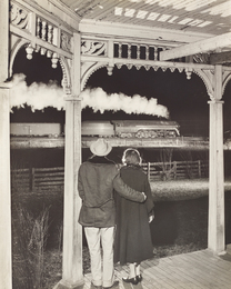 Mr. and Mrs. Pope watch the last steam powered passenger train, Max Meadows, Virginia