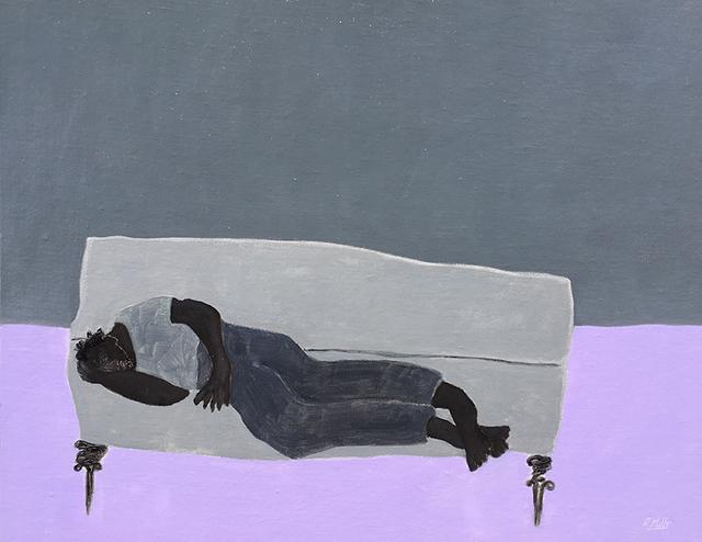 , 'Park Bench, Sleeping Thin Man/Violet ground,' , Emmanuelle G Gallery