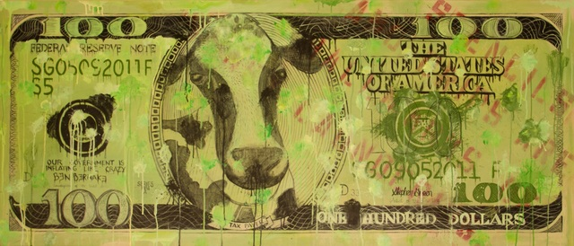"Stephen Green, '""Cash Cow"" aka: ""Devaluation of the Dollar""', 2011, Ezair Gallery"
