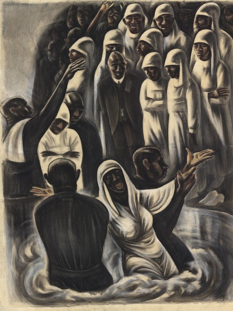 Howard N. Cook, 'Alabama Negro Baptism.', ca. 1934, Drawing, Collage or other Work on Paper, Watercolor and charcoal,, The Old Print Shop, Inc.