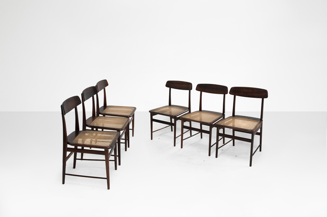""", 'Set of six dining chairs model """"Lucio Costa"""",' 1956, Side Gallery"""