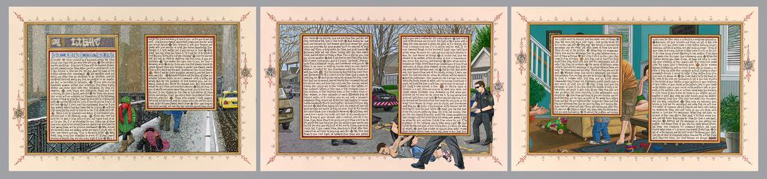 Sandow Birk, 'American Qur'an: Sura 24 A-C, triptych,' 2013, Koplin Del Rio