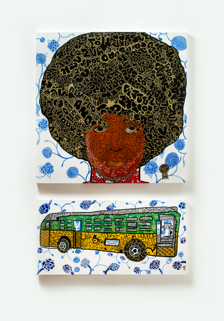 , 'Angry Mob of Peaceful Protestors: Angela Davis and Rosa Parks,' 2018, Wexler Gallery