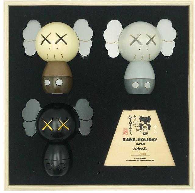 KAWS, 'Kokeshi Doll Set', 2019, Sculpture, Set of 3 hand-crafted wood sculptures, artrepublic