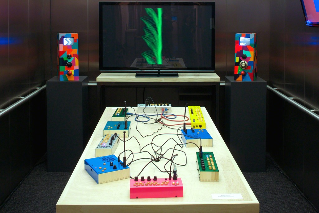 Installation view, Elevator Music 30: Critter & Guitari, Tang Teaching Museum, 2016