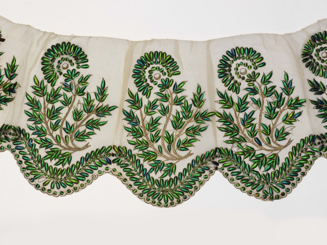 , 'Muslin Border Embroidered with Beetle Wings,' 19th century, Victoria and Albert Museum (V&A)