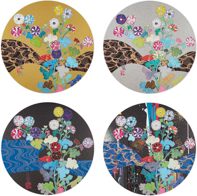 Takashi Murakami, 'The Golden Age. Hokkyo Takashi; Korin: Flowers; Korin: Azure River; and Korin: Stellar River in the Heavens', 2014-15, Phillips