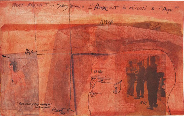 Modest Cuixart, 'Bert Brecht', 1964, Drawing, Collage or other Work on Paper, Collage with watercolor and ink paper, Odalys