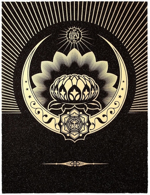 Shepard Fairey (OBEY), 'Obey Lotus Crescent (Black / Gold)', 2013, Gregg Shienbaum Fine Art