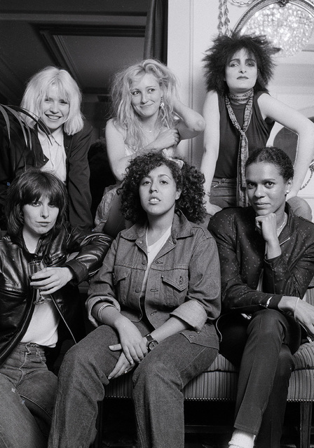 , ''Ladies Tea Party', London, 1980 - Debbie Harry, Viv Albertine of The  Slits, Siouxie Sioux, Chrissie Hynde, Poly Styrene of X-Ray Spex and Pauline Black of The Selector,' 1980, ElliottHalls