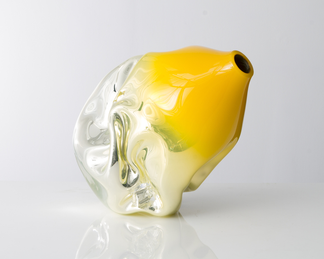 Jeff Zimmerman, 'Unique crumpled sculptural vessel in mirrorized yellow hand-blown glass with glass gems,' 2014, Museum of Arts and Design