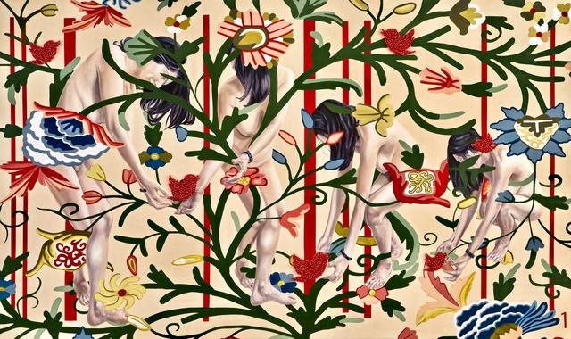 ", '""Ritual"" in the Garden of Armina, 150x252cm & swarovski breads,' 2016, Merkur"