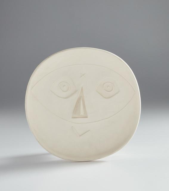 Pablo Picasso, 'Head with mask (Tête au masque)', 1956, Design/Decorative Art, White earthenware round plate., Phillips