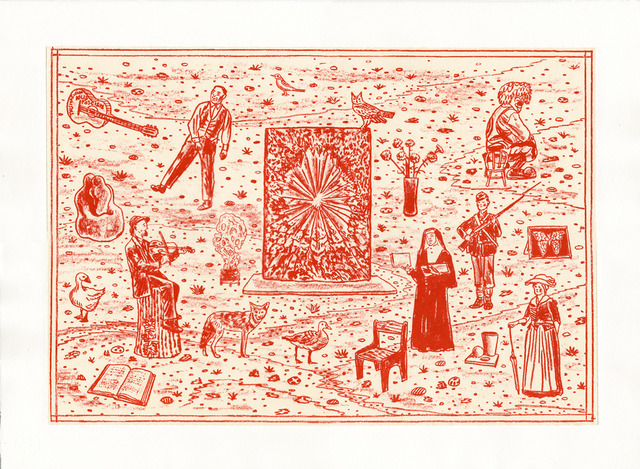 Michael Krueger, 'History is Nonsense - The Rose Tells All', 2016, Print, Woodblock print with chine-coll©, Haw Contemporary
