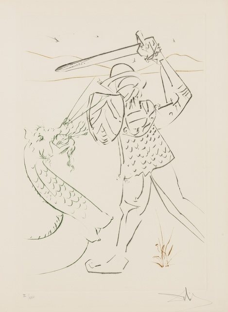 Salvador Dalí, 'La quête du Graal (Field 75-9; M&L 778-789b)', 1975, Books and Portfolios, The complete set of 12 drypoints printed in colours, Forum Auctions