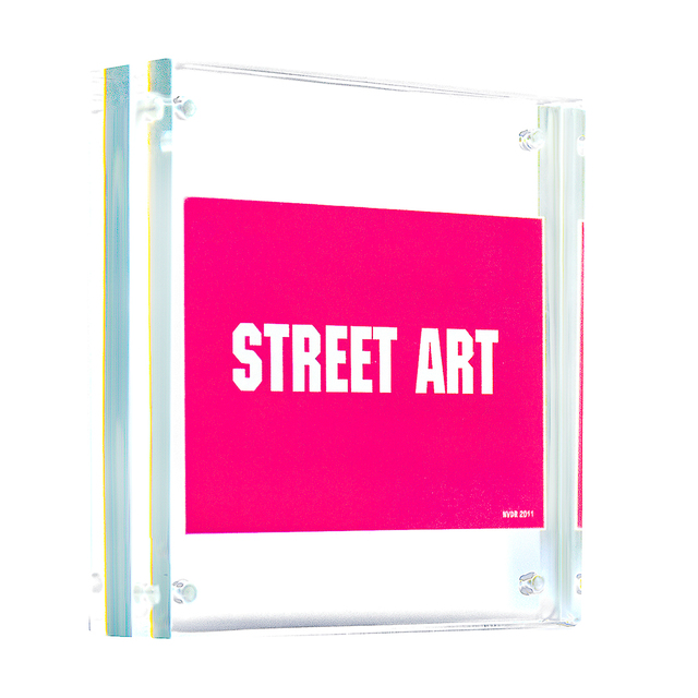 Invader, 'STREET ART (Framed)', 2011, Ephemera or Merchandise, Vinyl sticker printed in colors and float framed in a new clear acrylic block frame., Silverback Gallery