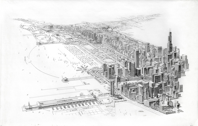, 'Chicago Master Plan, Aerial View Looking South from above Navy Pier,' 1983, Edward Cella Art and Architecture