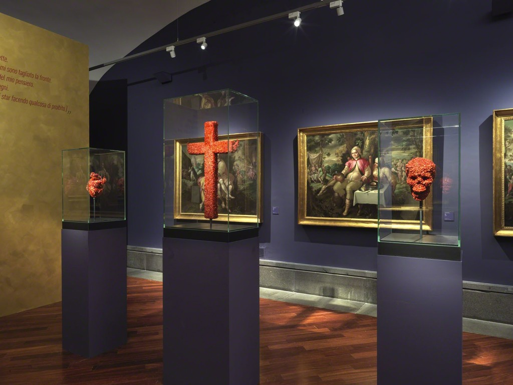 "The triptych of coral sculptures composed by ""The Devilish Love for Death"", ""The Devilish Passion"", ""The Devilish Bridge between Life and Death"" (2019, Deep Precious Coral, pigment, polymer) are presented together with  works from the Museum's collection by Jacques de Backer from the series ""The Seven Deadly Sins"" (Lust, Gluttony, Envy and Pride)"