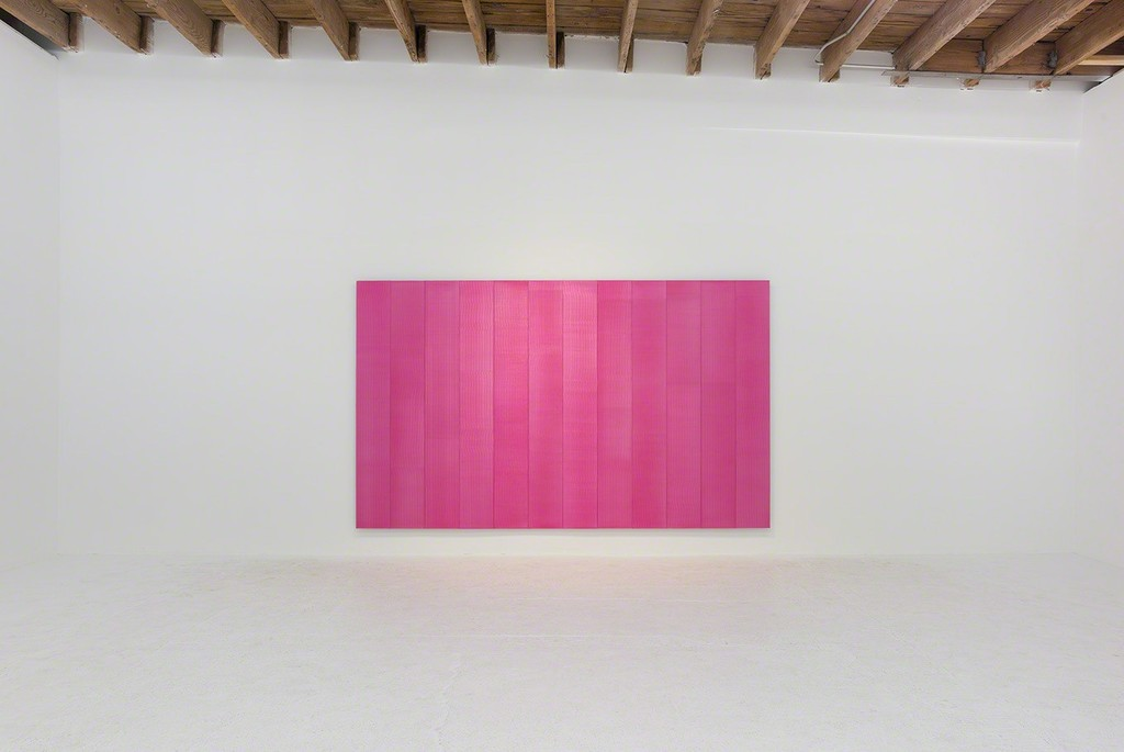 Roy Thurston, '2016 -1', 2016, pink silicone on aluminum panel, 72 x 120 x 1 ½ inches