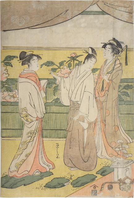 Hosoda Eishi, 'The Tale of Genji: Flower Festival', ca. 1791-94, Print, Woodblock print, Scholten Japanese Art