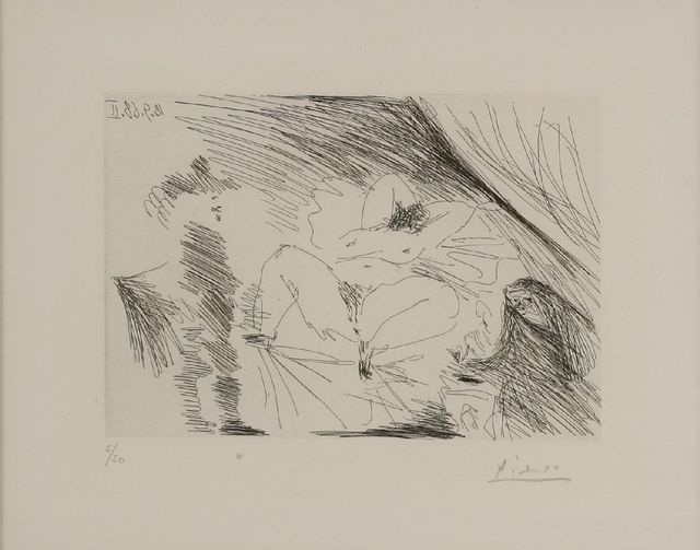 Pablo Picasso, 'Young Woman On A Bed, Procuress and Gentleman (Bloch 1802)', 1968, Sworders