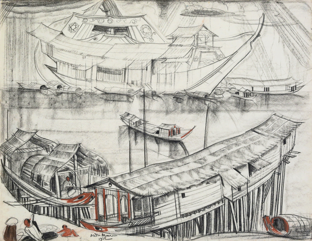 , 'On the bank of Tonlé Sap,' 1952, Galerie Dumonteil