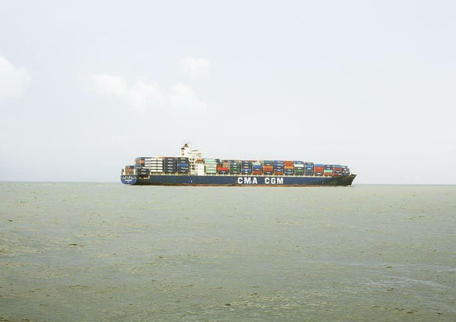 Victoria Sambunaris, 'Untitled (Container Ship, CMA CGM Kingfish, Liberia), Houston Ship Channel, Texas VS-16-121D', 2016, Tracey Morgan Gallery