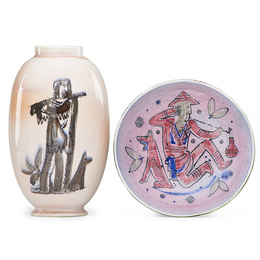 Vase and bowl with Daniel Boone, dog, and Asian man smoking a pipe, Perth Amboy, NJ