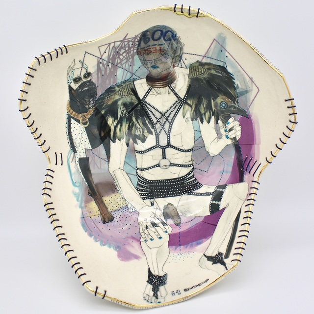 Yurim Gough, 'HE LOVES IT!', 2020, Sculpture, Life drawing on stoneware with ceramic pencil, transfers, gold, thread, Paradigm Gallery + Studio