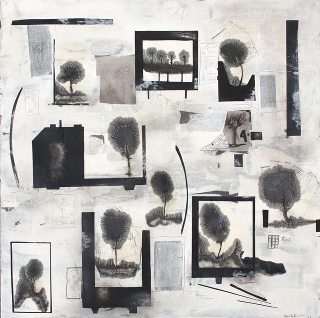 Manu vb Tintoré, 'El patio de mi casa es particular', 2011, Drawing, Collage or other Work on Paper, Watered black pigment on wood, N2 Galería