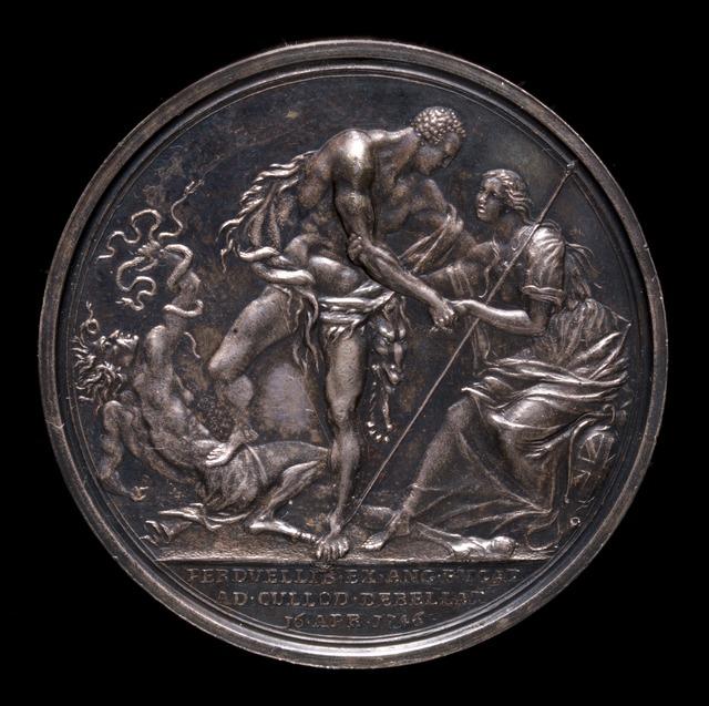 Richard Yeo, 'The Duke as Hercules, Overcoming Discord and Raising Britannia [reverse]', 1746, Sculpture, Silver, National Gallery of Art, Washington, D.C.