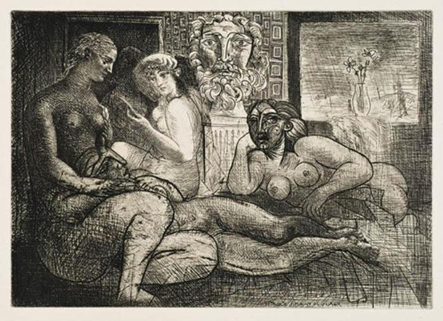 , 'Femmes Entre Elles Avec Voyeur Sculpté (Clin D'Œil Au Bain Turc),' 10, Galerie d'Orsay