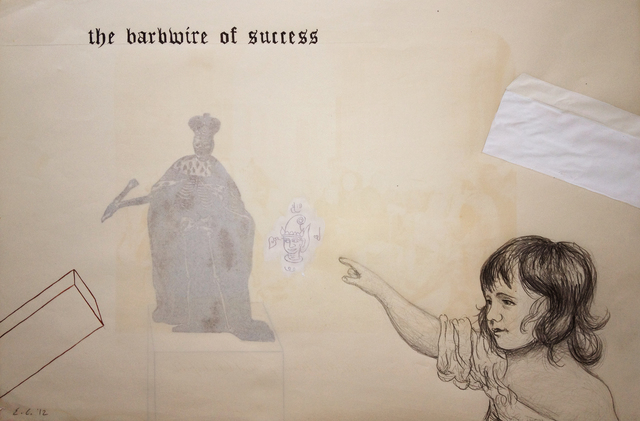 Enrique Chagoya, 'Ghostly Meditations (the barbwire of success)', 2012, Mixed Media, Acrylic and India ink on de-acidified 19th century paper (facing pages of etchings from a 19th century book), Lisa Sette Gallery