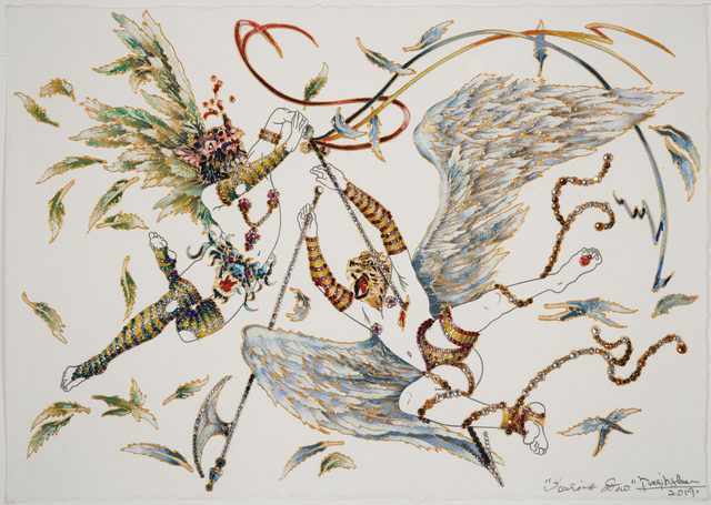 Raqib Shaw, 'Icarus Duo', 2019, Drawing, Collage or other Work on Paper, Acrylic, graphite, enamel, and rhinestones on paper, Pace Gallery