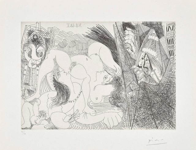 Pablo Picasso, 'Raphaël et la Fornarina IV: avec le Pape tirant le rideau (Raphael and the Fornarina IV: with the Pope Pulling Back the Curtain), plate 299 from the 347 Series', 1968, Phillips