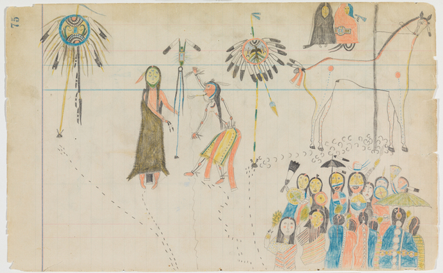 ", 'Ledger Drawing ""Ghost Dance"",' ca. 1880, Donald Ellis Gallery"