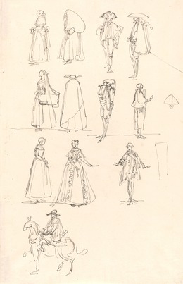 Luis Paret y Alcázar, 'Historical Costumes', 1780, Drawing, Collage or other Work on Paper, Pen and black ink on laid paper, National Gallery of Art, Washington, D.C.