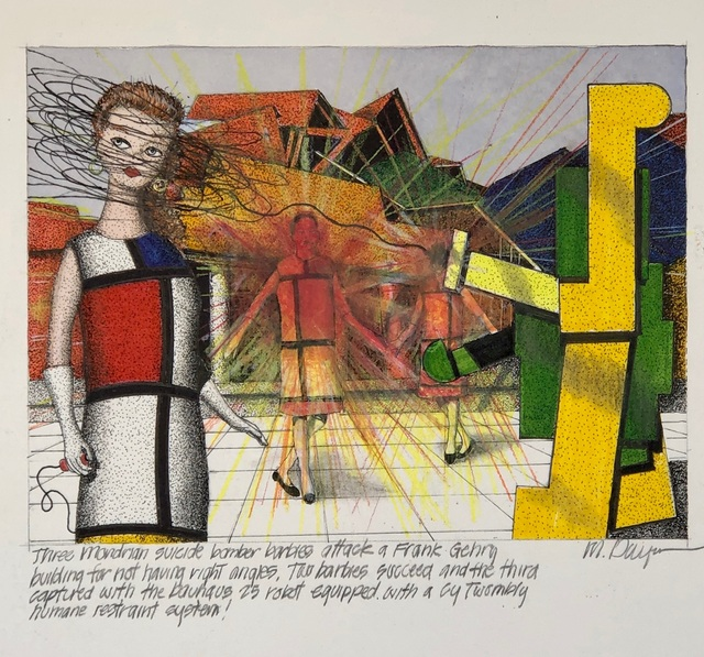 Michael Dwyer, 'Three Mondrian suicide bomber barbies attack a Frank Gehry building for not having  right angles. Two barbies succeed and the third captured with the Bauhaus 25 robot equipped with a Cy Twombly humane restraint system!', 2020, Drawing, Collage or other Work on Paper, Mixed Media on Paper, M.A. Doran Gallery