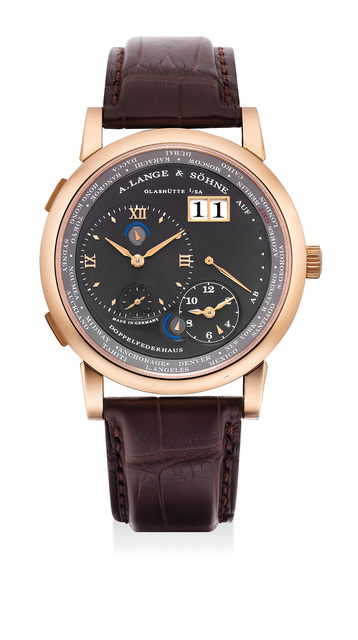A. Lange & Söhne, 'A fine and rare pink gold dual and world-time wristwatch with date, power reserve, night/day indications and grey dial', Circa 2012, Phillips