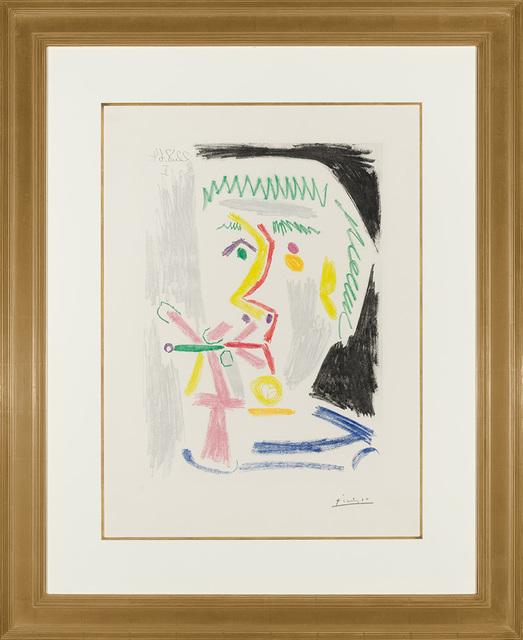 Pablo Picasso, 'Fumeur À La Cigarette Verte (B. 1168)', 1964, Print, Color aquatint, on Richard de Bas wove paper, Doyle