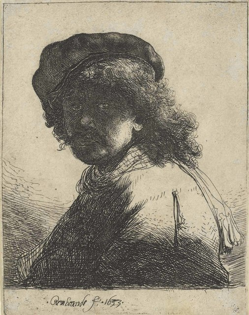 Rembrandt van Rijn, 'Self-Portrait in a Cap and Scarf with the Face dark: Bust', 1633, Christie's