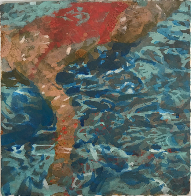 ", '""Havenhurst"" abstract oil painting of woman under water in red bathing suit,' 2017, Eisenhauer Gallery"