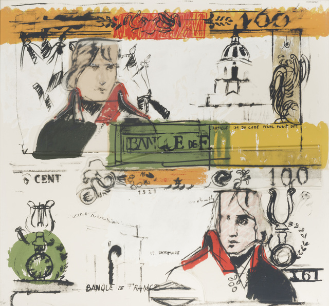 Larry Rivers, 'Double French Money', 1965, Print, Color screenprint on thick wove paper and multi-layered plexiglas, John Moran Auctioneers