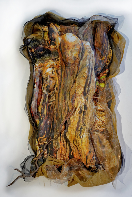 Lori Horowitz, 'Devining', 2020, Painting, Mixed Media encaustic wax, photo copper, brass screen, aluminum on gauze, The Painting Center