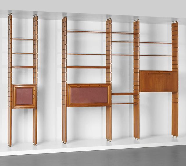 Studio BBPR, 'Modular bookcase', ca. 1960, Design/Decorative Art, Walnut, walnut-veneered wood, leather bound wood, brass, Phillips