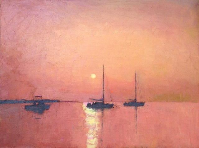 """Larry Horowitz, '""""Red Sunset"""" orange-red sky reflecting on water with sailboats', 2010-2017, Eisenhauer Gallery"""