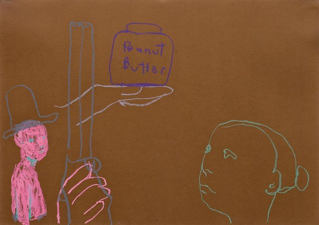 Ryan Mendoza, 'Untitled (Peantbutter)', 2003, Drawing, Collage or other Work on Paper, Oil charcol on coloured paper, Koller Auctions